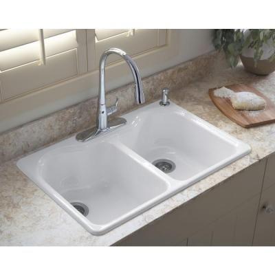 kohler hartland drop in cast iron 33 in 4 hole double basin kitchen sink in white - White Kitchen Sinks