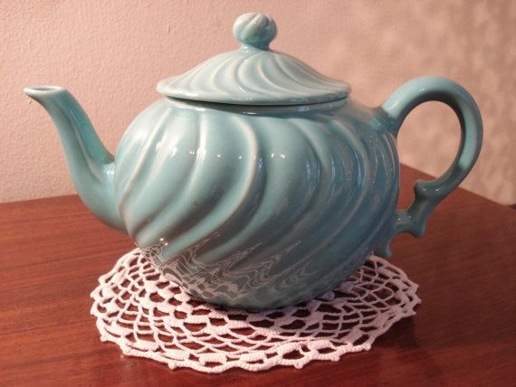 Vintage Turquoise Tea Pot by Franciscan Ware