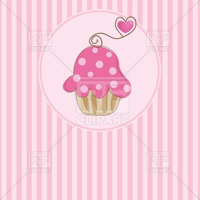 Cute pink muffin in round frame on striped background