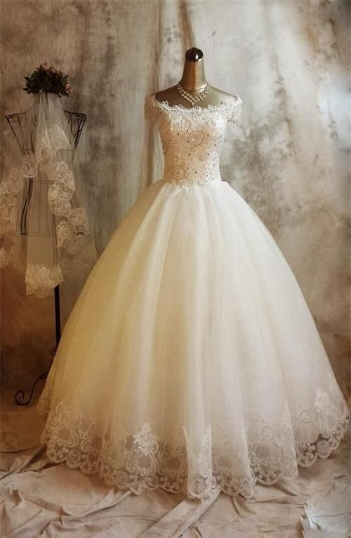 Long Ball Gown Lace Wedding Dresses,Beaded Back Up Lace Wedding Gowns,Bridal Gowns On Sale: