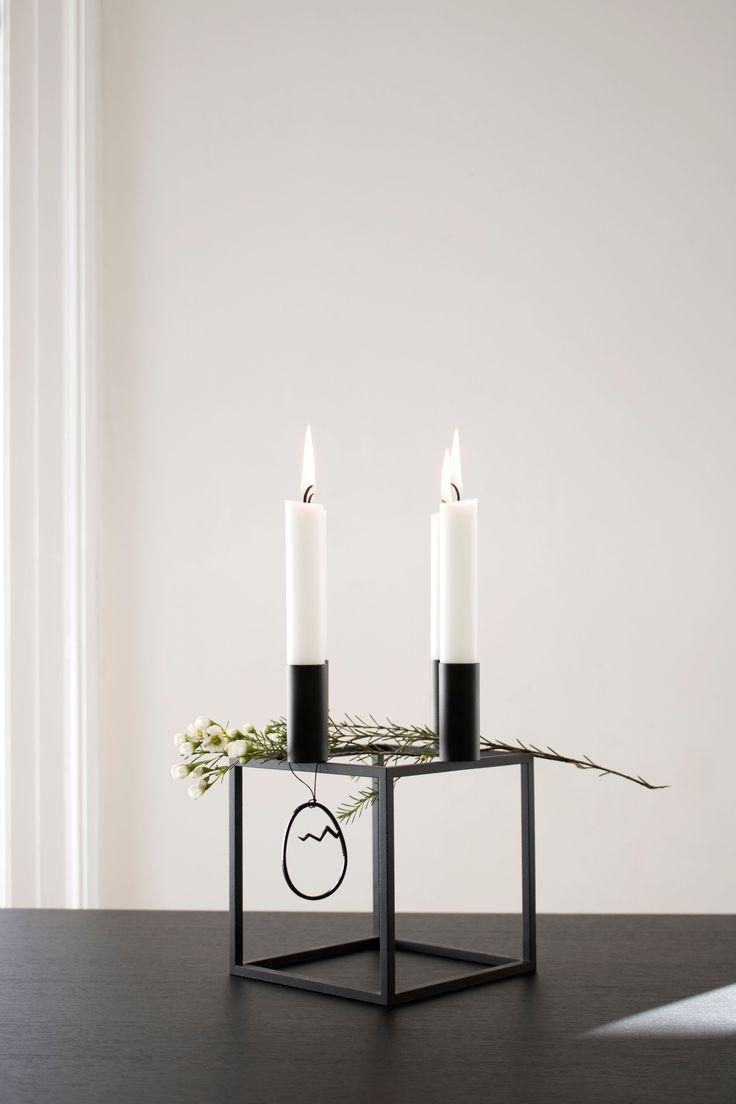 Kubus 4 candleholder in black