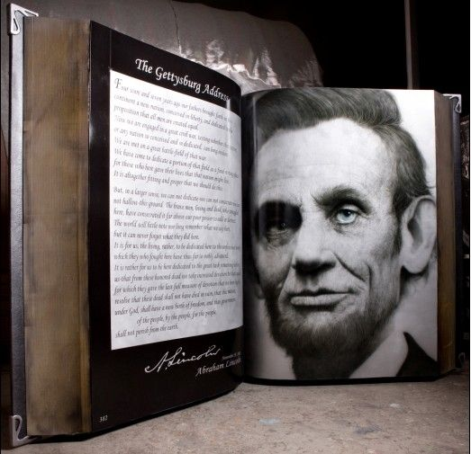 Kang Hyung Koo. Lincoln in the book.    Oil on aluminium, fortified plastic and urethane.  Year: 2009  Dimensions: 210 x 310 x 110 cm
