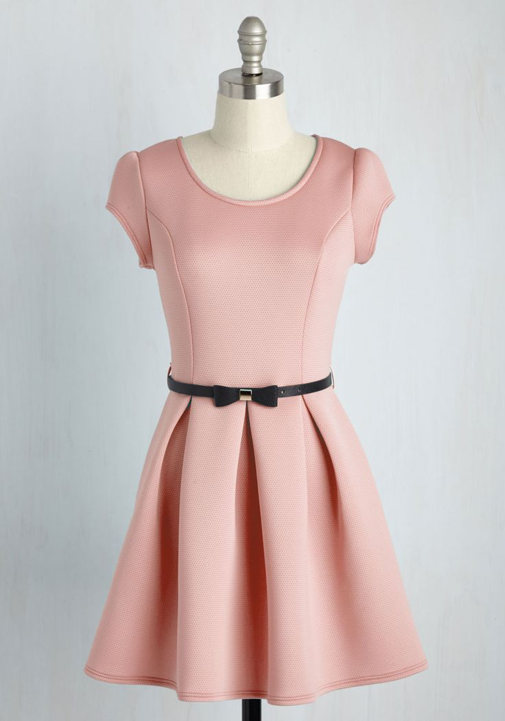 Darling Decision Dress in Pink. By choosing to spend the day in this pastel pink dress, you also opt for a chipper mood to accompany your ensemble! #blush #modcloth
