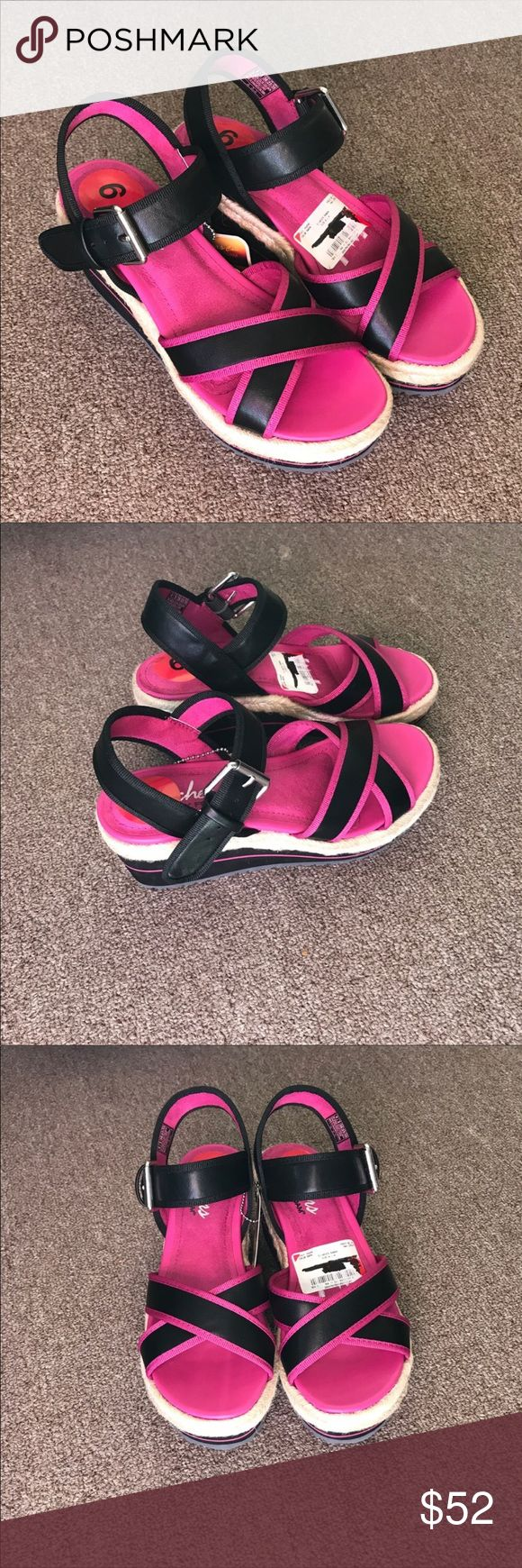 NWT Skechers wedge cali memory foam sandals 6 New with tag. Skechers brand. Memory foam sandals with more support and cushion. Side buckle. Wedge sandals in black and pink. Size 6. Skechers Shoes Sandals