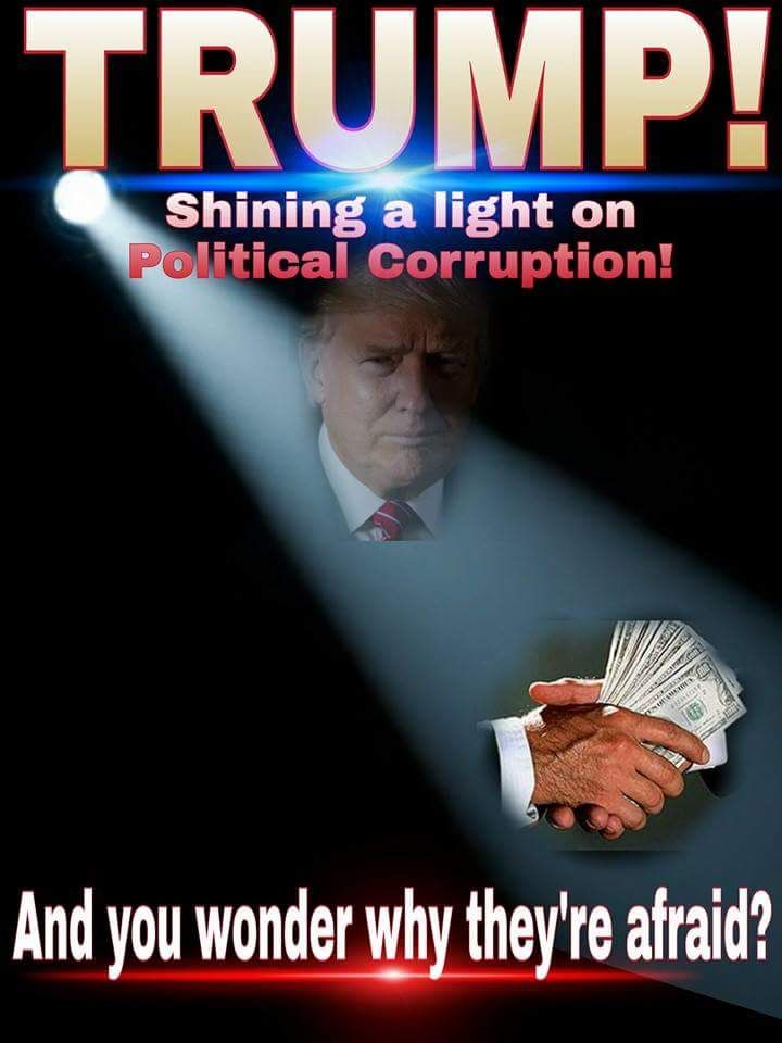 Let's get rid of the political corruption in our country, VOTE TRUMP!!! hillary is funded by the muslim brotherhood and bilderberg group, she's for the new world order and sharia law! Trump is our HOPE!!!