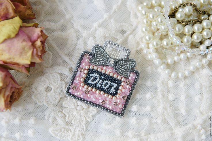 Купити Брошь из бисера 'Miss D' брошь бисер - розовая брошь, флакон духов