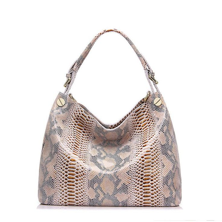 Genuine Leather -serpentine Hobo shoulder bag