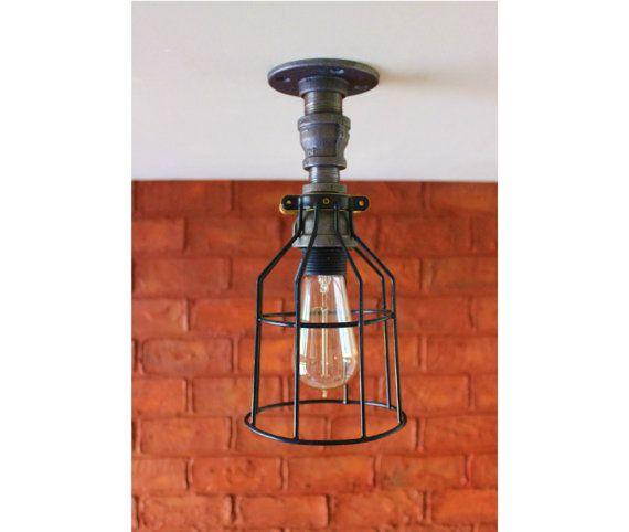 Plafoniera - luce tubo industriale Casale Mason Jar w / gabbia Light - portalampada industriali cucina e bagno vanità luce Decor