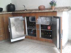 Balcão refrigerado em padrão madeirado - Varandas Gourmet