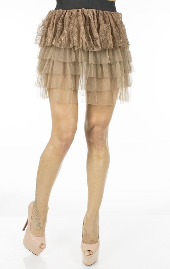 Fusta Dama Brown Lace  Fusta dama mini, tutu. Design modern ce poate fi purtata la diferite ocazii.  Detaliu - insertie fina de dantela.     Lungime: 42cm  Latime talie: 35cm  Compozitie: 100%Poliester
