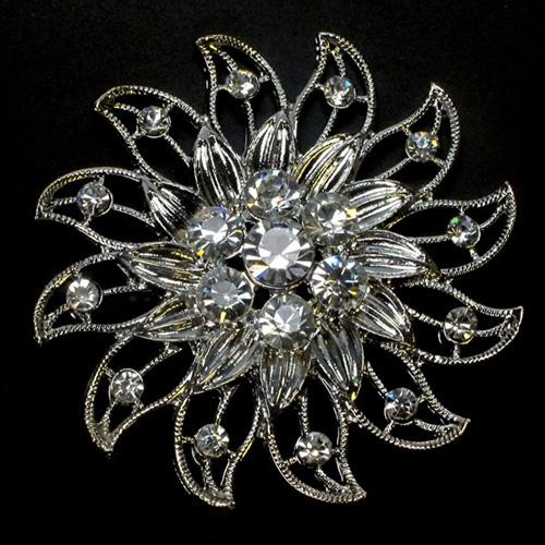 St. Tropez Diamante Brooch Floral Bridal Wedding Accessory Invitations Venue Styling Napkin Holder Chair Tie Back Jewellery