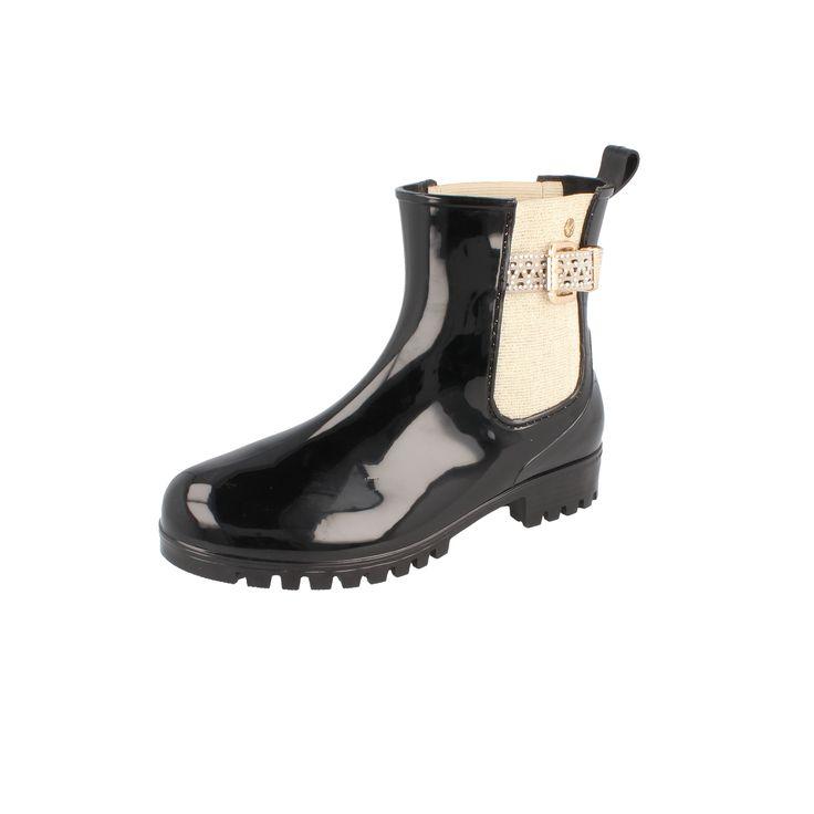 Gosch Shoes Sylt Damen Chelsea Gummi Stiefelette mit Glitzer-Details gold #gosch #gummistiefel #stiefelette #gold