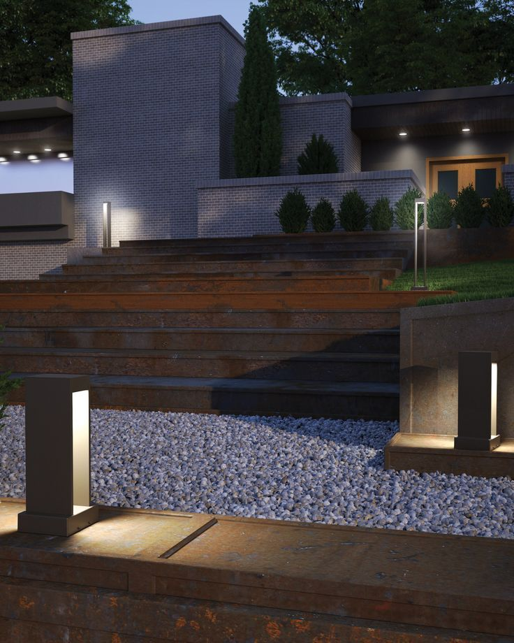Exhibiting a modern  Zen like design approach  the Syntra outdoor path  light by Tech Lighting blends seamlessly into contemporary architecture and   41 best Outdoor Lighting Ideas images on Pinterest   Lighting  . Modern Exterior Path Lighting. Home Design Ideas