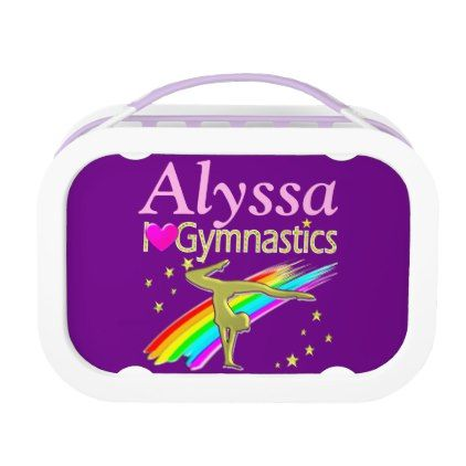 PURPLE LOVE GYMNASTICS PERSONALIZED LUNCH BOX - kitchen gifts diy ideas decor special unique individual customized