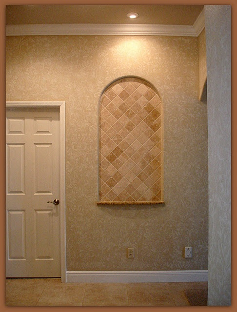 Master bedroom foyer faux wall treatment white over tan for How to paint faux marble wall
