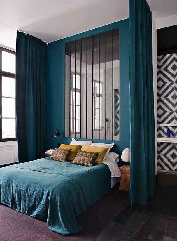 les 25 meilleures id es de la cat gorie chambre bleu canard sur pinterest d coration bleu. Black Bedroom Furniture Sets. Home Design Ideas