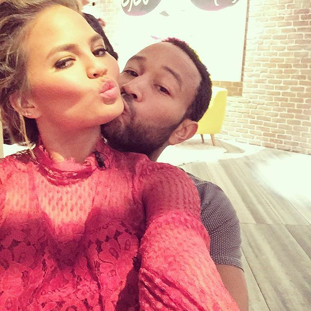 """Pin for Later: Chrissy Teigen and John Legend Bring New Meaning to the Term """"Relationship Goals""""  John posted this picture while visiting Chrissy on the set of FABLife in August 2015."""