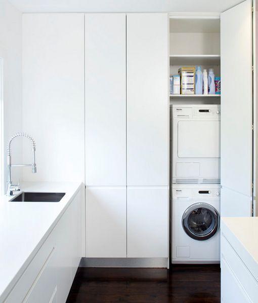 Lavadora y secadora en columna