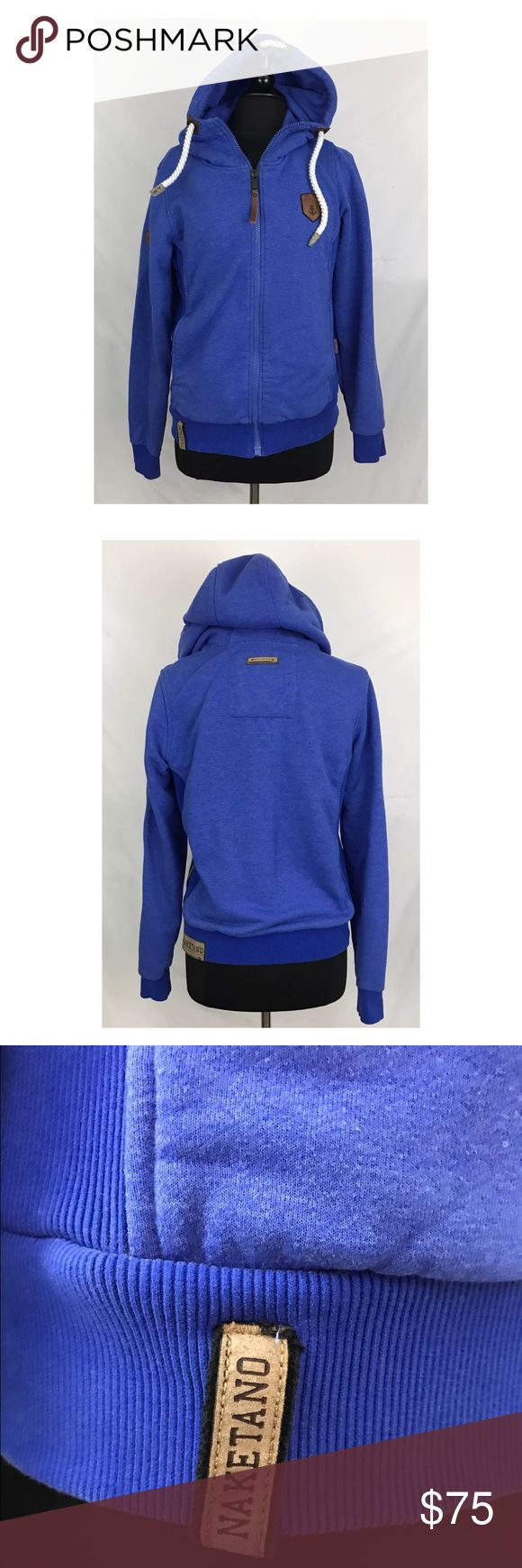 Naketano Blue Hoodie Zip Jacket Unisex S Fits M L Naketano Nautical Blue Hoodie/sweatshirt-beautiful gently used condition.  Unisex Size Small-fits women's medium or large.  Brave New Word/ The Poets Choice 25 inches length 20 inches armpit to armpit Naketano Tops Sweatshirts & Hoodies