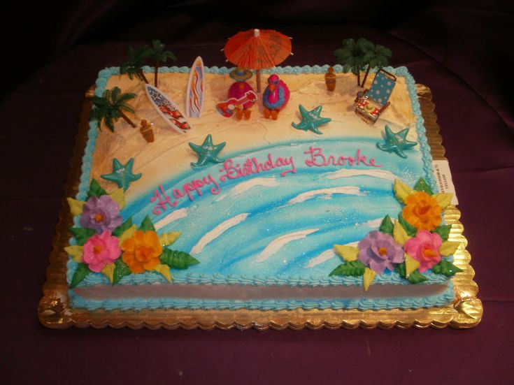 Easy Beach Themed Cakes With Buttercream Icing Google