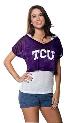 TCU Horned Frogs Women's Purple Cropped Top Mesh Jersey $21.00