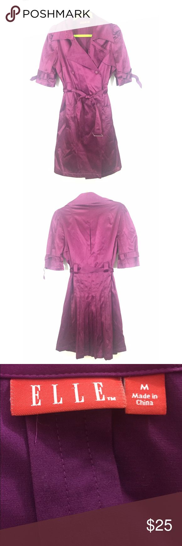 """Elle short sleeve trench coat/jacket Gorgeous purple/fuchsia colored trench. Elle size medium. Silky feel medium weight jacket. Cinch tie waist with belt. Pleated skirt in back. Bust 21"""", waist 18"""", length 37"""". Cotton/polyester/spandex. Machine washable. elle Jackets & Coats Trench Coats"""
