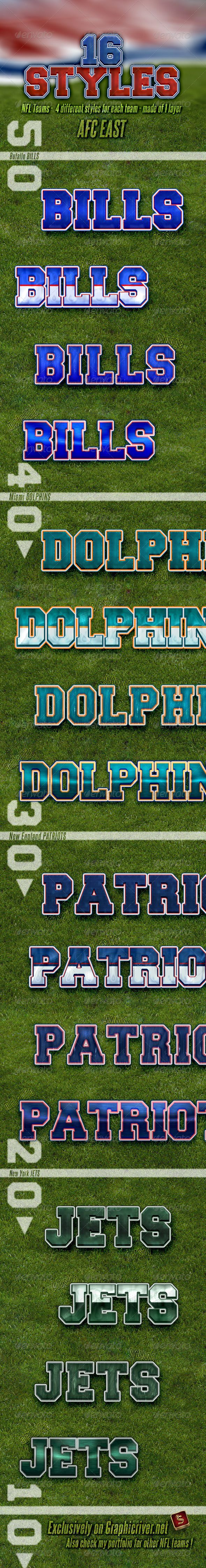 NFL Football Styles - AFC East #GraphicRiver NFL Football Photoshop Layer Styles – Part 1 AFC EAST NFL Football Photoshop layer styles –are the best for your titles, buttons, shapes, etc. Styles are usable for any Text and it also looks good on Shapes or Buttons. Don't forget to check all parts of NFL Team Styles NFL Football Layer Styles – Features All styles are made of 1 layer only Unique Styles Applicable with just one click Unique look and clean design Can be used anywhere ASL and PSD…