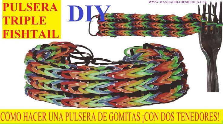 COMO HACER PULSERA TRIPLE FISHTAIL ¡CON DOS TENEDORES! SIN TELAR TUTORIA...