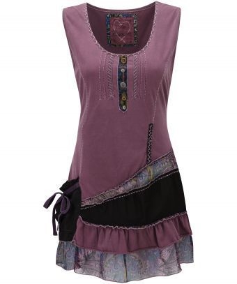 Joe Browns Sensational Tiered Top, plum and paisley astmmetrical tunic - I like the ribboned pouchy pocket