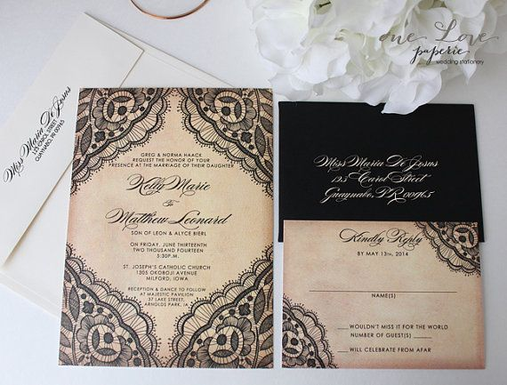 Romantic Black Lace Wedding Invitation and Response Card Suite – Black Lace Wedding Invitations