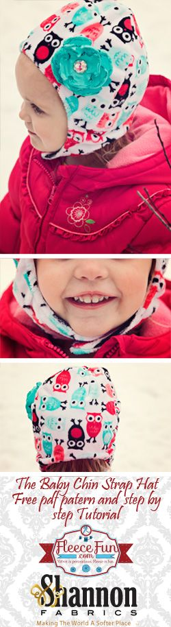 The Baby Chin Strap Hat DIY tutorial and FREE Pattern! This tutorial shows you how to make this adorable (and reversible) baby hat with a chin strap. Baby won't be able to pull it off, keeping them nice and warm when going out into the cold!