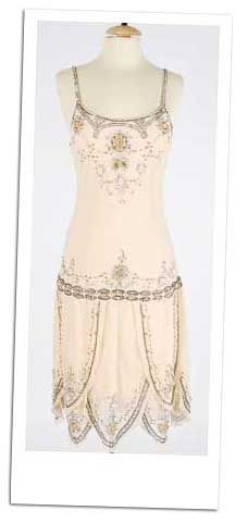 Flapper dress, beaded and crystal-encrusted, vintage - this could be the wedding dress. Combine with satin headband in matching color and long thin strands of pearl necklaces.