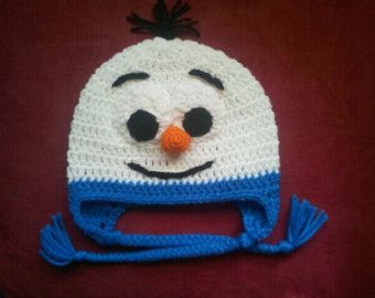 Crocheted Baby Frozen Olaf Snowman Hat  newborn to 3 year sizes