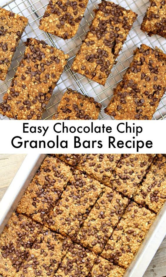Super easy Baked Chocolate Chip Granola Bars Recipe : perfect for snacking- made with whole wheat flour- and great to throw into lunch boxes too.