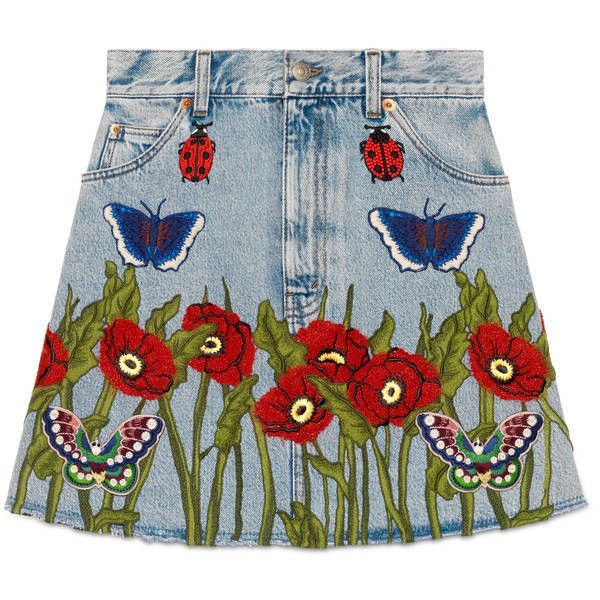 Gucci Embroidered Denim Skirt (£1,110) ❤ liked on Polyvore featuring skirts, denim, ready to wear, women, a-line skirt, knee length a line skirt, blue denim skirt, blue skirt and high waisted knee length skirt
