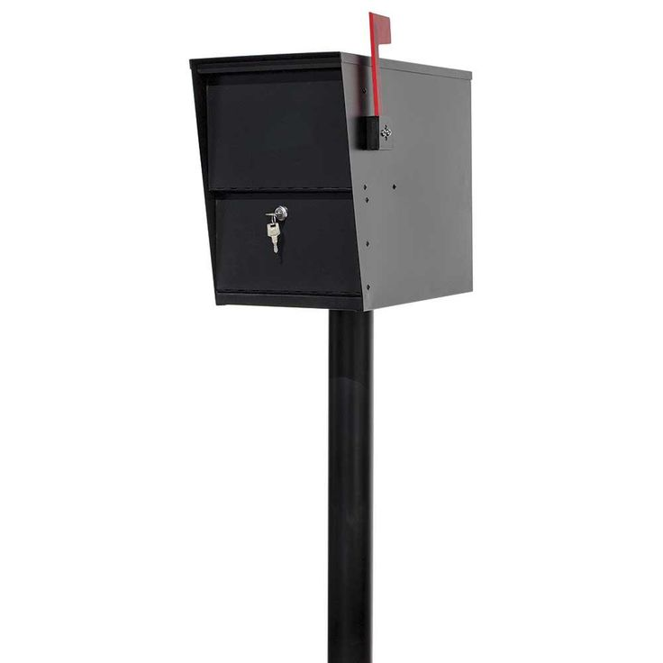 null LetterSentry Black Post Mount Locking Mail and Small Parcel Box