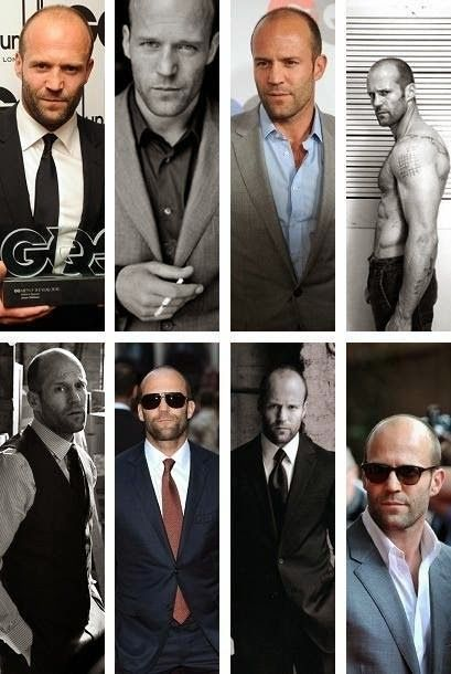 Jason Statham, rocking less hair in the most studly, manly way