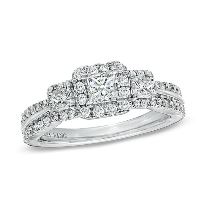 Brides.com: Three-Stone Engagement Rings. Style 19502178, 1 CT. T.W. princess-cut diamond three stone engagement ring in 14K white gold, $4,399.99, Vera Wang LOVE available at Zales