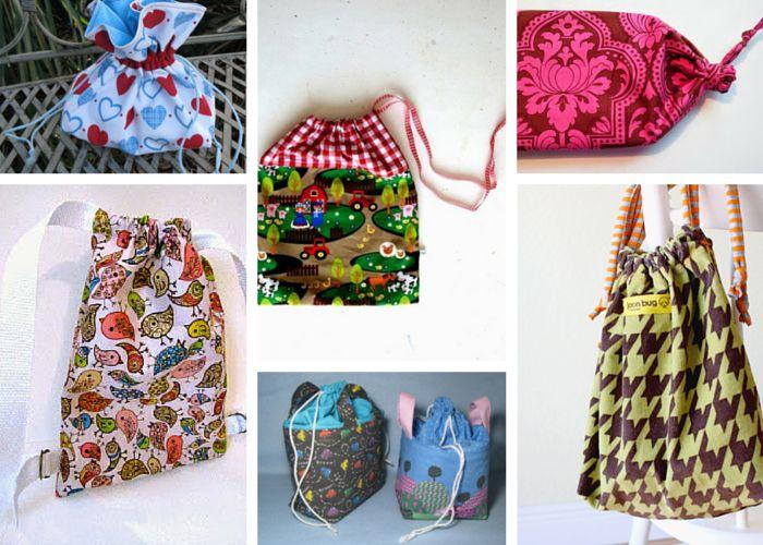 Love bags? 28 How to Make a Drawstring Bag Tutorials and Drawstring Bag Patterns