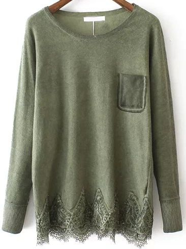 Green Round Neck Lace Hem Loose Sweater