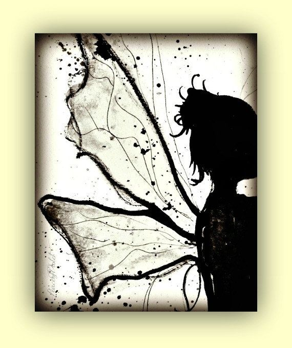 Fairy Art, Faerie, Black and white Art Print, art for girls room