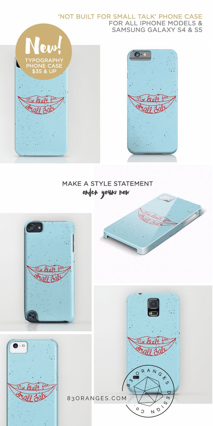 'Not Built For Small Talk' Phone case for all models of #iPhone & #Samsung #Galaxy S4 & S5 phones. Order now! http://83oranges.com/product/not-built-for-small-talk-phone-case/
