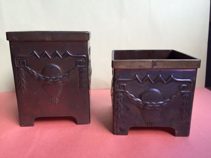 Antique Art Nouveau Beautiful and Rare Brass and Copper Containers by VintageVixens1 on Etsy