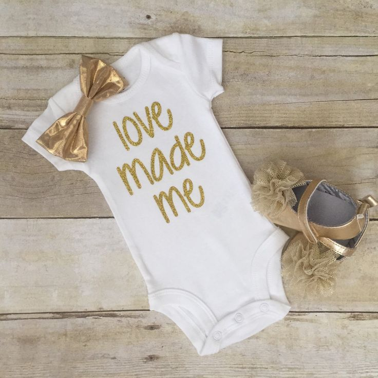baby glitter bodysuit love made me in gold silver pink glitter by LittleBabyCouture on Etsy https://www.etsy.com/listing/236994156/baby-glitter-bodysuit-love-made-me-in