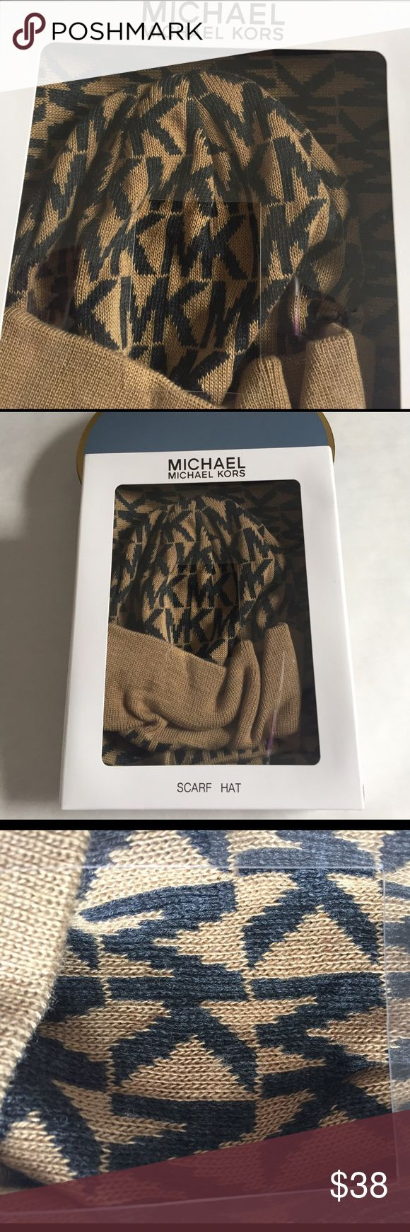 🎉MK scarf & hat Set Michael Kors light brown and camel monogram set of hat and scarf. Brand new in gift box. Still sealed. Michael Kors Accessories Scarves & Wraps