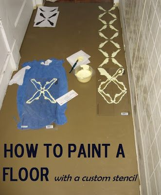 Painted Stenciled Plywood Floor