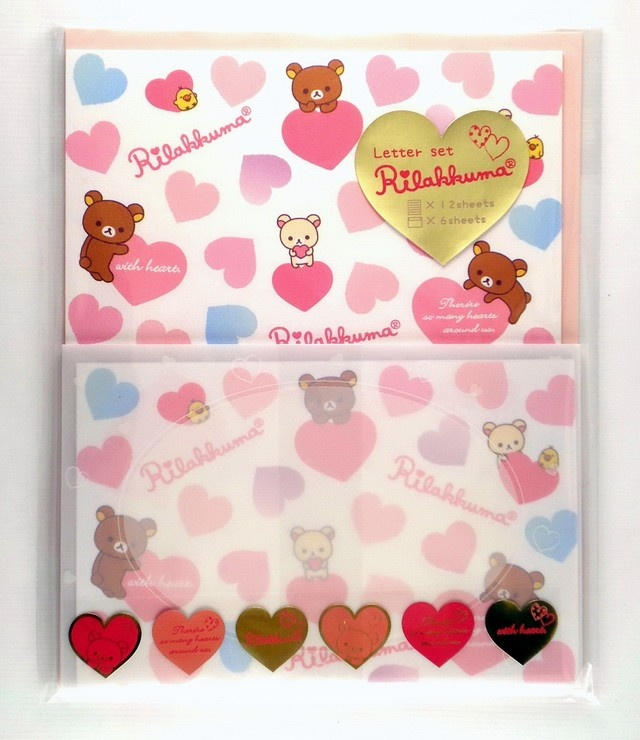 San-X Rilakkuma with heart letter setKawaii Letters, Kawaii Stationary, San X Rilakkuma, Letters Setsset, Gift Wraps, Sets San X, Heart Letters, Mail Art