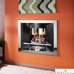 The Crystal Fire Emerald Gem gas fire is a beautiful Contemporary hole in the wall gas fire. This Crystal Emerald Gem gas fire comes in a stunning chrome and black finish as shown in the picture.