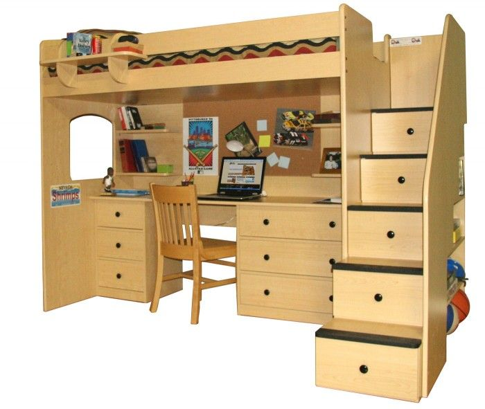 A Loft Bed With A Shelf Next To You And Desk And Storage And Dresser