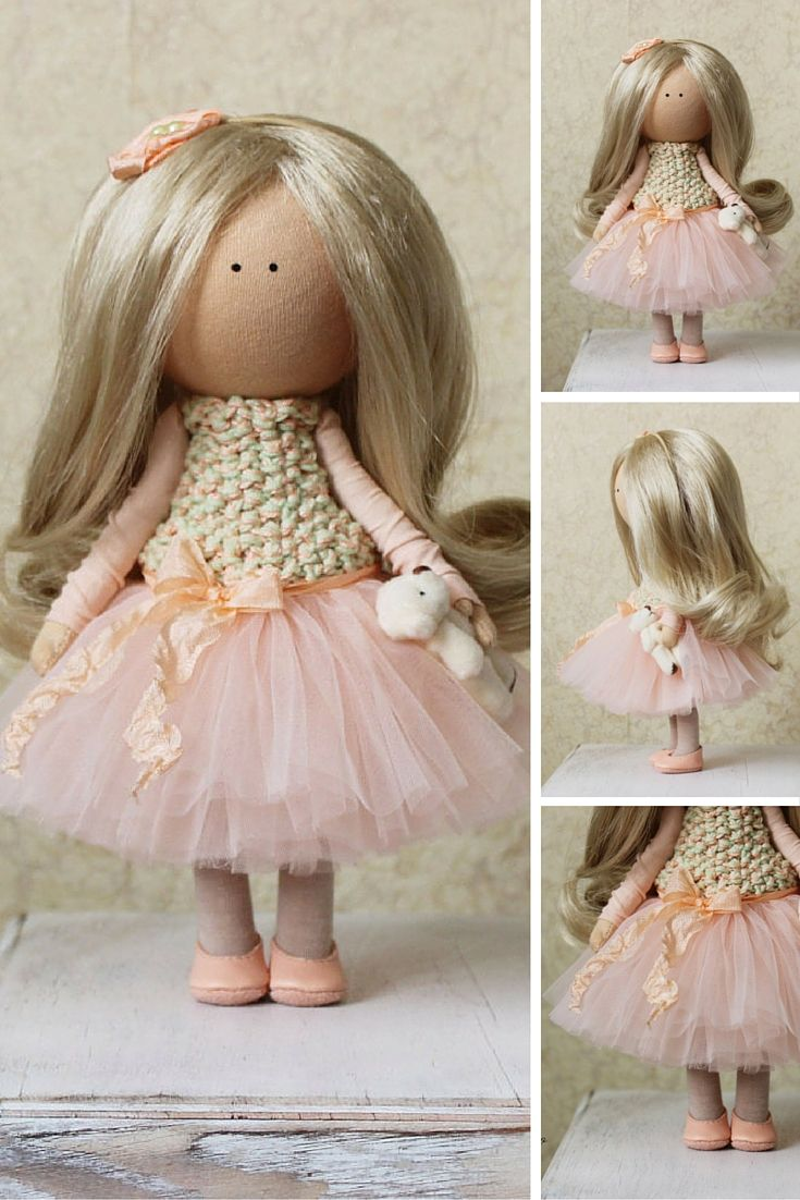 Tilda doll Handmade blonde peach color Collectable doll Baby doll Decor doll Home Fabric doll